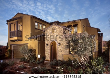 New Home, House, Development in the United States. Residential housing track homes.