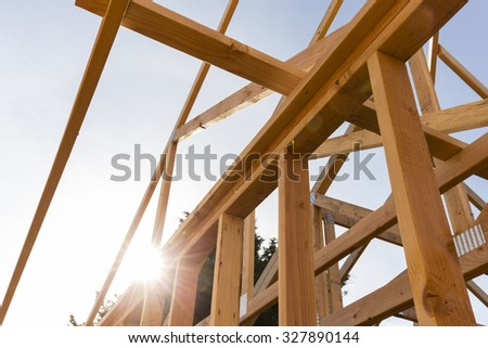 New house construction with sky