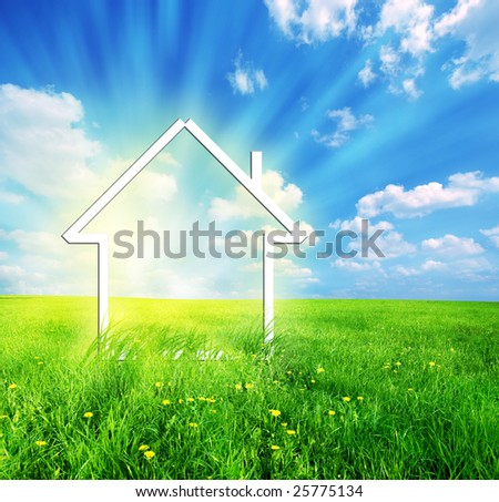 New house imagination vision on green meadow. Conceptual image