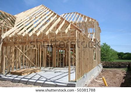 new house under construction - stock photo