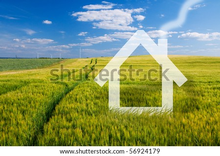 New house vision on green meadow. Conceptual image