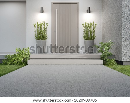 New house with wooden door entrance and empty concrete walkway. 3d rendering of green grass lawn in modern home.