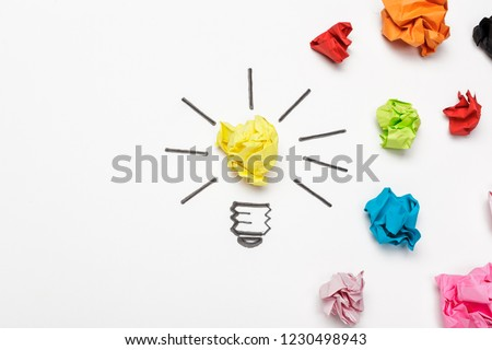 New Idea Concept. Colorful Crumpled Paper Balls #1230498943