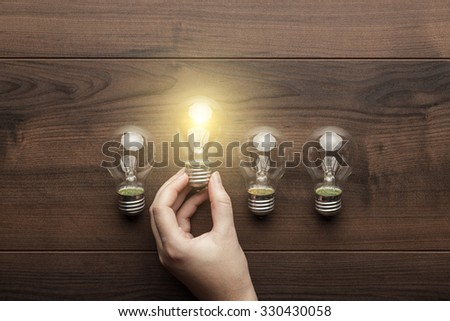 new idea concept with female hand holding light bulb
