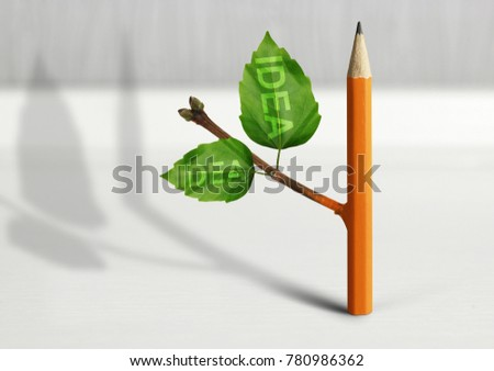 New idea creative concept, pencil with leaves