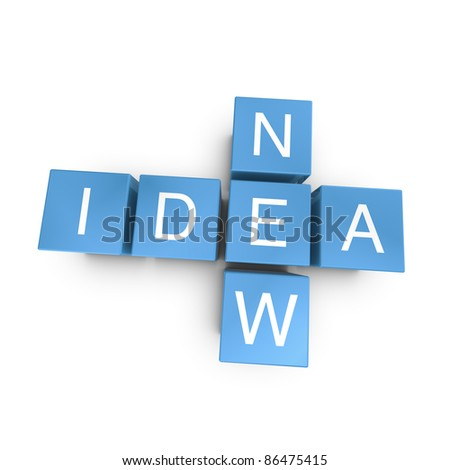 New idea crossword on white background, 3D rendered illustration