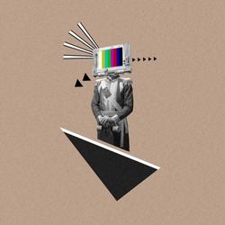 New ideas. Renaissanse man headed by old TV isolated on background. Negative space to insert your text. Modern design. Contemporary colorful and conceptual bright art collage, art collage. Visual art.
