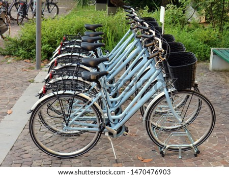 New identical blue women bicycles  lined up on a sidewalk, outside a park. #1470476903