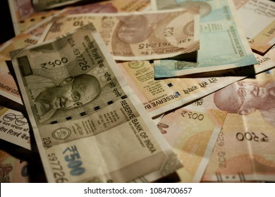 Stock Photo - New Indian 50 rupees, 200 rupees, 10 rupees, and 500 rupees notes