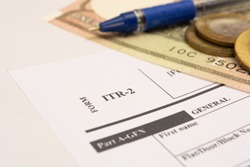 New Indian Taxation From ITR-2 Income tax Form with indian currency on isolated background