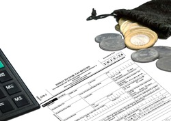 New Indian Taxation From, showing Calculator, ITR-1 Income tax Form,  10 rupee Coins,