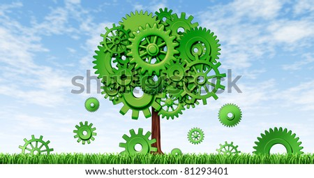 New industrial growth in manufacturing and planning for investments for future opportunities in emerging markets representing growth and prosperity with a green tree made of cogs and gears.
