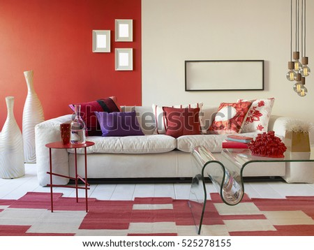 new interior design of a luxury living room, modern lamp #525278155