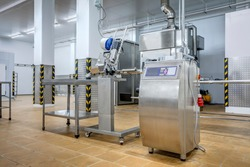 new interior of a packaging production line at a semi-finished factory