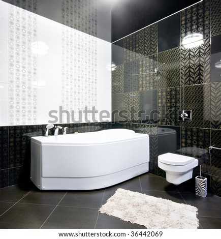 New interior of black and white bathroom