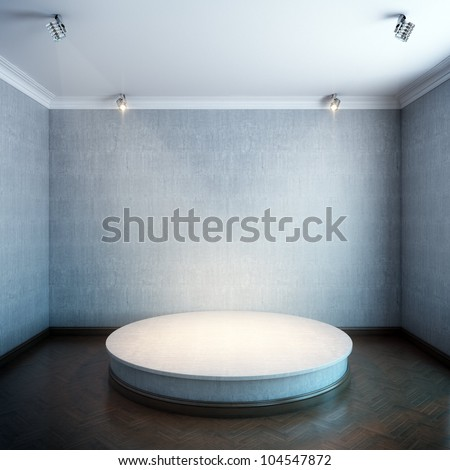 new interior with a round concrete podium and lighters (grey concrete walls version)