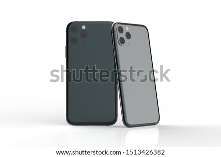 New Iphone 11 Pro Max. Smartphone mock isolated on white background. Back side. Concept for app, web, presentation. 3d illustration
