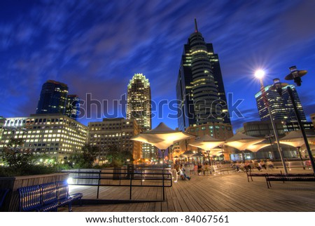 """NEW JERSEY - AUGUST 29: Called """"Wall Street West,"""" Exchange Place has been a financial district and transit hub since colonial times August 29, 2011 in Jersey City, New Jersey."""