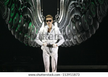 NEW JERSEY - JUL 30: Justin Bieber performs at the Prudential Center on July 30, 2013 in New Jersey. - stock photo