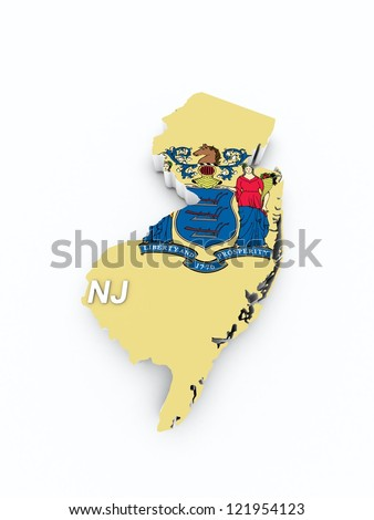 new jersey state flag on 3d map
