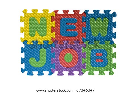 New job sign written with alphabet puzzle letters isolated on white background