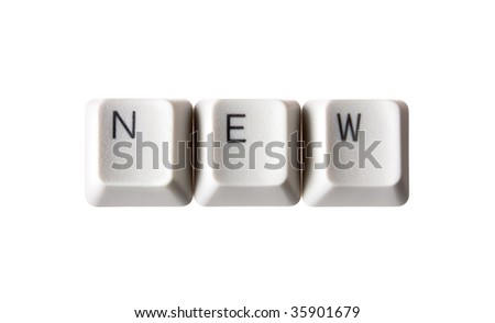 New keys on a white isolated