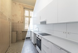 new kitchen before and after renovation - white kitchen