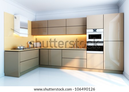 new kitchen interior with brown lacquer boxes facades