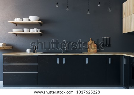 New kitchen interior with furniture. Design and lifestyle concept. 3D Rendering