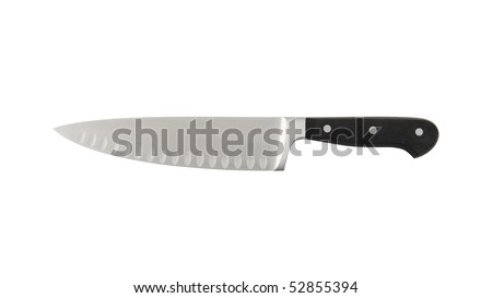 New kitchen knife on a white background