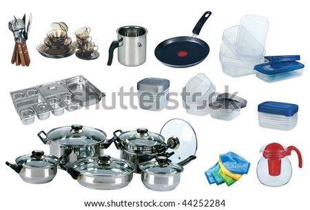 New kitchen set isolated on white background - stock photo