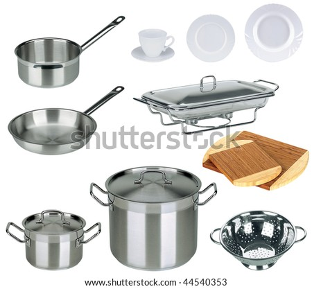 New kitchen set isolated on white background