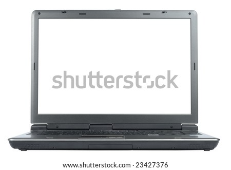 New laptop isolated with clipping path over white
