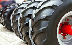 New, large tractor wheels close up