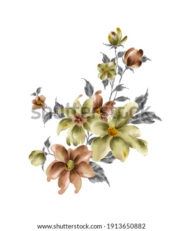 New Latest Digital Textile Designs Hand Drawn Watercolor Flowers Composition Bouquet, Floral illustration, Leaf and buds. Botanic composition for wedding or greeting card. branch of flowers   DDM