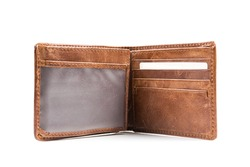 New leather wallet isolated on white background