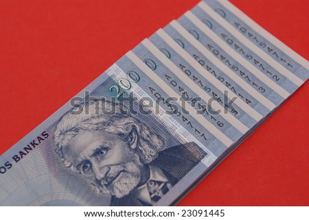 new Lithuanian banknotes with a serial numbers in a row.