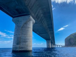 New littoral road of Reunion Island, most expensive road, bridge over the sea