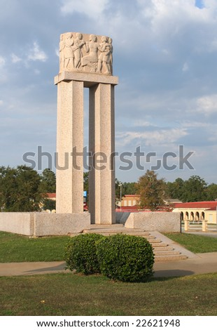 NEW LONDON, TEXAS - NOV 3: Cenotaph commemorating the New London School Explosion. On March 18, 1937 a gas leak caused an explosion that destroyed the school and killed about 300 people.Nov 3, 2008