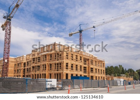 New low-rise apartments building construction
