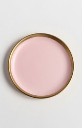 New luxury plate view from above on a isolated white background. Top view. Porcelain pink saucer with gold ring. Trendy Coral tones. Flat lay view.