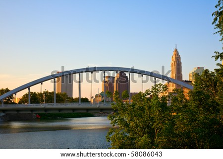 New Main Street Bridge in Columbus, Ohio changes the cityscape - stock photo