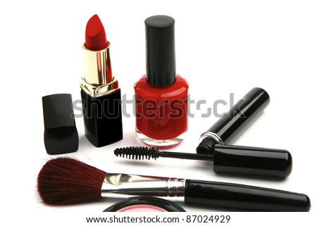 new makeup set isolated on white background