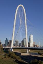 New Margaret Hunt Hill Bridge crossing Trinity River in Dallas, Texas. The bridge unique design of a 400-foot steel arch and cables to support  the bridge. The bridge will open in 2012.