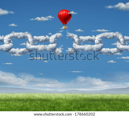 New Markets Breakthrough business concept  as a group of clouds shaped as a linked chain being broken through by a businessman in a hot air balloon as a freedom metaphor of repression and dirty air.