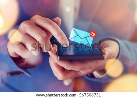 New messages on mobile phone, female finger opening inbox to view the pending e-mail communication