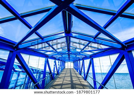 new metal bridge at a forest - photo stock photo
