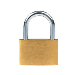 New metal padlock isolated on white background