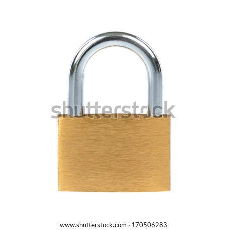 New metal padlock isolated on white background #170506283