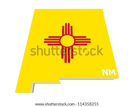 new mexico state flag on 3d map